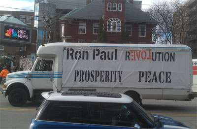Ron Paul truck rolls through Concord, NH.