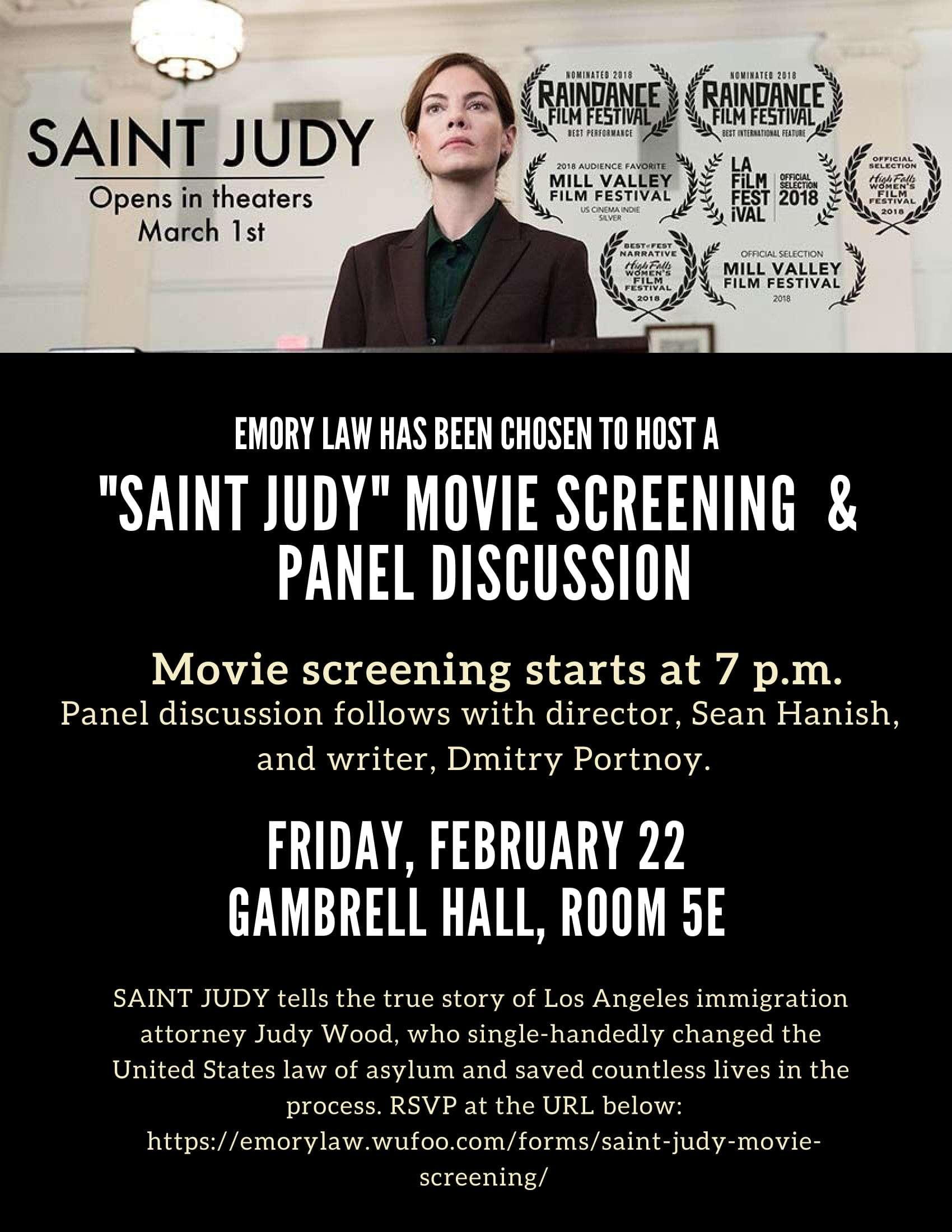 Screening of Saint Judy at Emory Law School, Fri 2/22 at 7