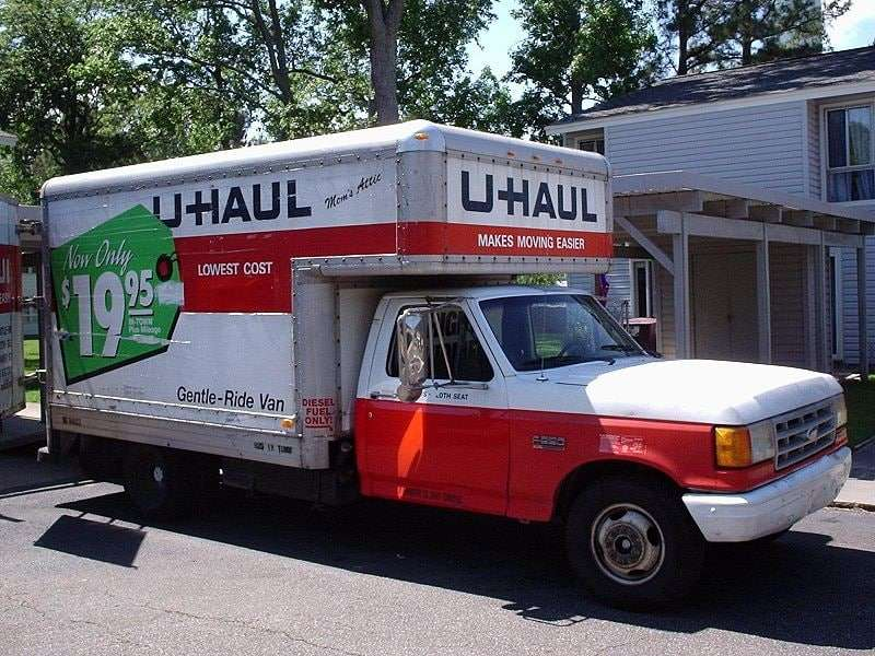 A U-Haul moving truck.