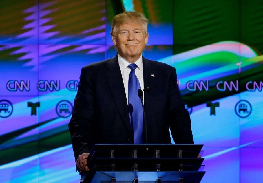 Republican presidential candidate, businessman Donald Trump pauses during a Republican presidential primary debate at The University of Houston, Thursday, Feb. 25, 2016, in Houston. (AP Photo/David J. Phillip)
