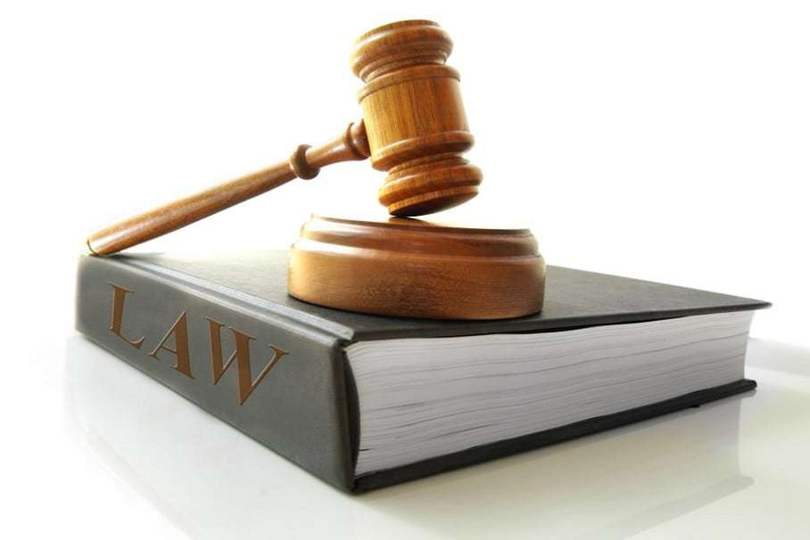 Stock image of gavel and law book