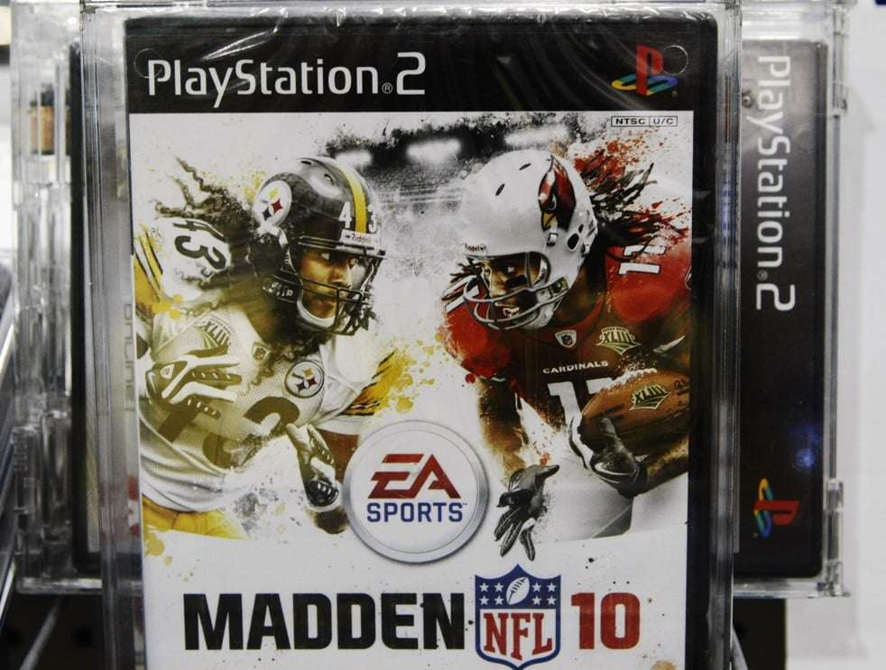 """Electronic Arts' """"Madden NFL 10"""" for Sony PlayStation 2 is displayed at a Best Buy in Mountain View, Calif., Wednesday, July 7, 2010. NFL football Hall of Famer Jim Brown is asking a San Francisco appellate court to overturn a federal judge's decision to dismiss his lawsuit against video game maker Electronic Arts. Brown filed the request Tuesday with the 9th U.S. Circuit Court of Appeals. He argues U.S. District Judge Florence-Marie Cooper was erroneous when ruling in September that Electronic Arts was protected by First Amendment rights when it created a character similar to Brown for its Madden NFL video games. (AP Photo/Paul Sakuma)"""