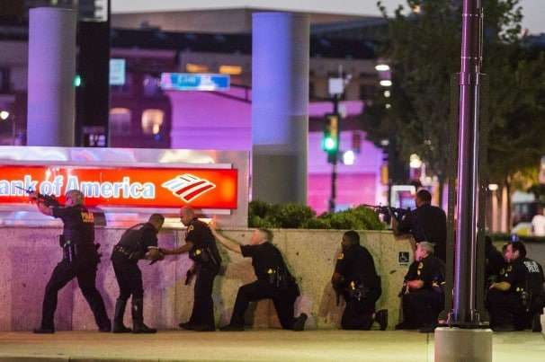 Police in Dallas, in the immediate aftermath of the shooting of five officers.