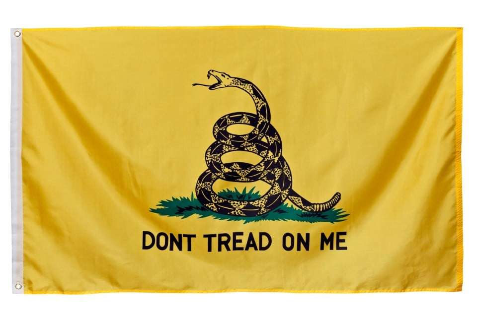 "Gadsden Flag. This flag was designed by and is named for American general Christopher Gadsden of South Carolina during in the 1770s. Beginning in 2009, the Gadsden Flag with its ""Don't Tread On Me"" message has become an adopted symbol of the American Tea Party movement."