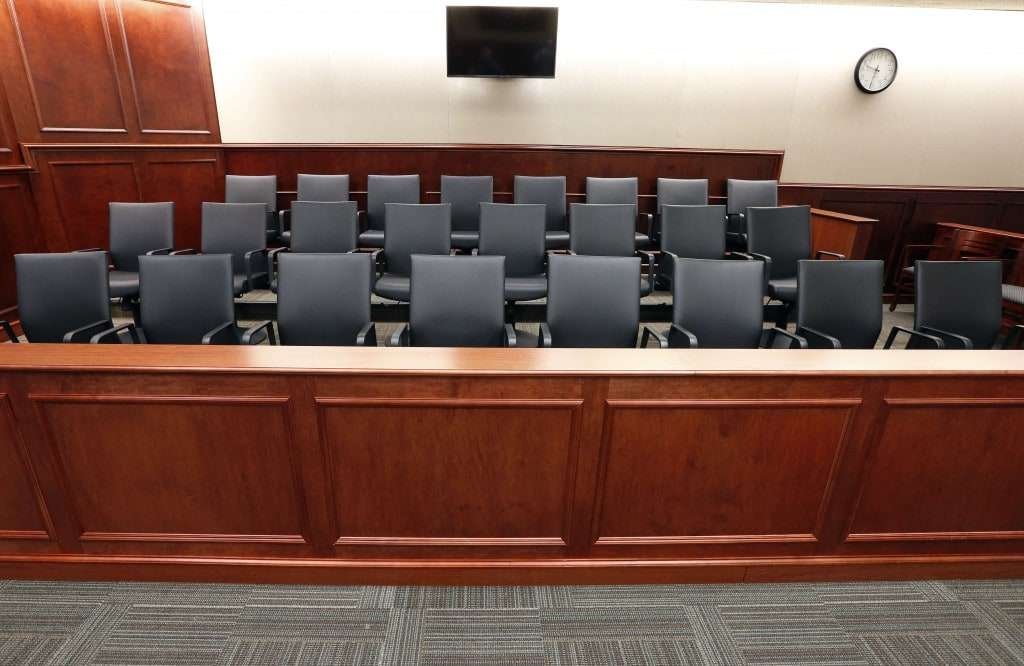 FILE - In this Jan. 15, 2015 file photo, a view of a jury box. (AP Photo/Brennan Linsley, pool, file)