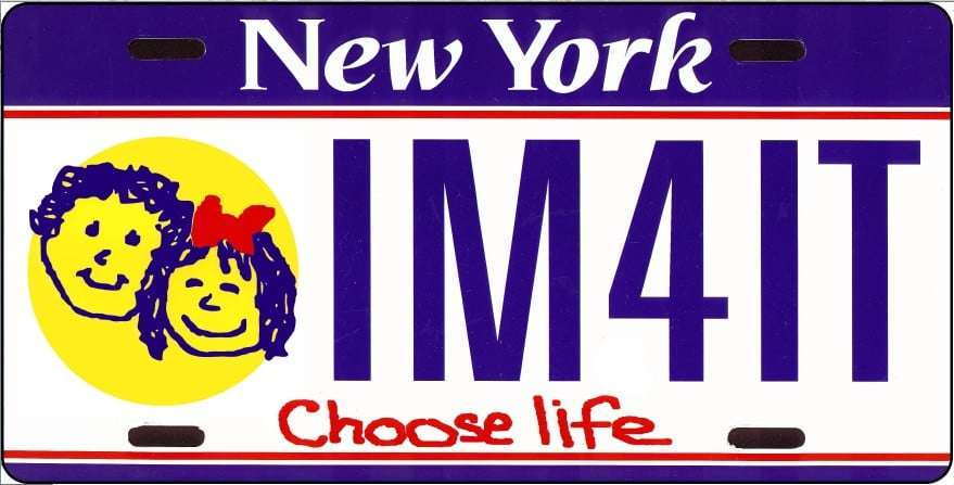 The proposed layout for the specialty license plate (rejected by the New York Department of Motor Vehicles).