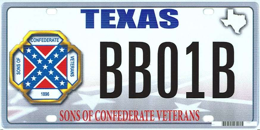 This image provided by the Texas Department of Motor Vehicles shows the design of a proposed Sons of Confederate Veterans license plate. The Supreme Court has upheld Texas' refusal to issue a license plate bearing the Confederate battle flag, rejecting a free-speech challenge. The court said Thursday that Texas can limit the content of license plates because they are state property and not the equivalent of a bumper sticker. (AP Photo/Texas Department of Motor Vehicles)