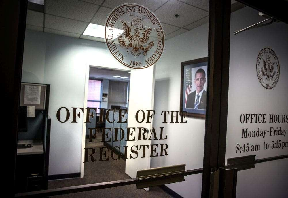 WASHINGTON, DC -NOV16: The Office of the Federal Register, November 16, 2016, in Washington, DC. (Photo by Evelyn Hockstein/For The Washington Post)