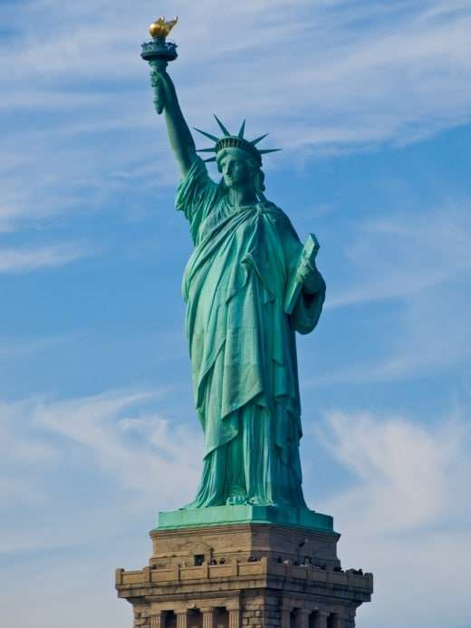 """Statue of Liberty seen from the Circle Line ferry, Manhattan. New York City is one of the """"sanctuary cities"""" that are committed to refusing cooperation with Donald Trump's plans for mass deportation."""