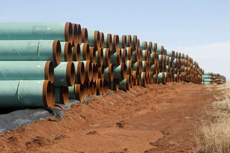 Pipeline prepared for use in the controversial Keystone XL project (2012).