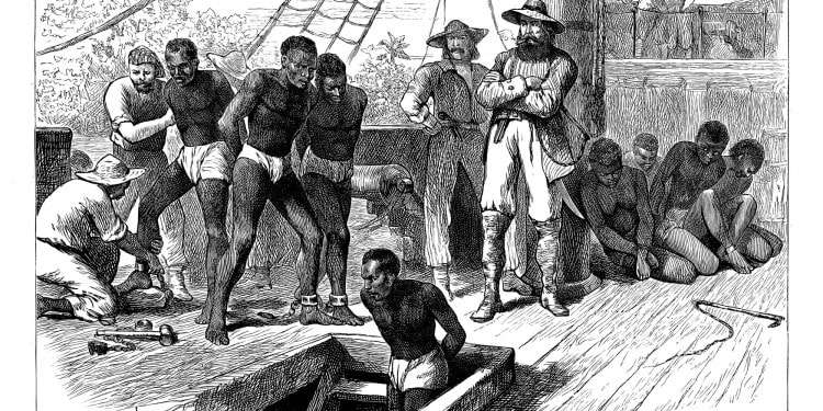 A 19th century slave ship. The Migration or Importation Clause was added to the Constitution in order to protect the slave trade against congressional restriction until 1808.