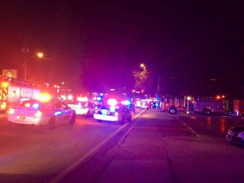 Police cars and fire trucks outside Pulse, the Orlando nightclub where a mass shooting attack occurred earlier today.