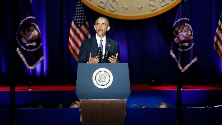 President Barack Obama gives his farewell address.