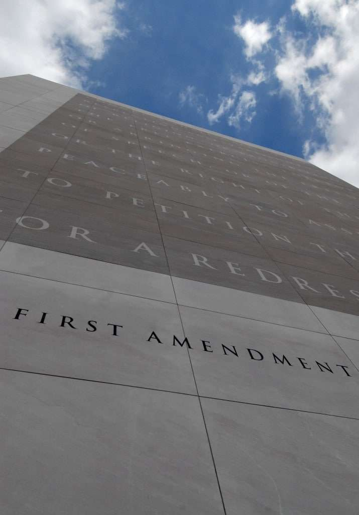 The First Amendment graces the front of the Newseum in Washington, D.C. (Jonathan Ernst for The Washington Post, file)