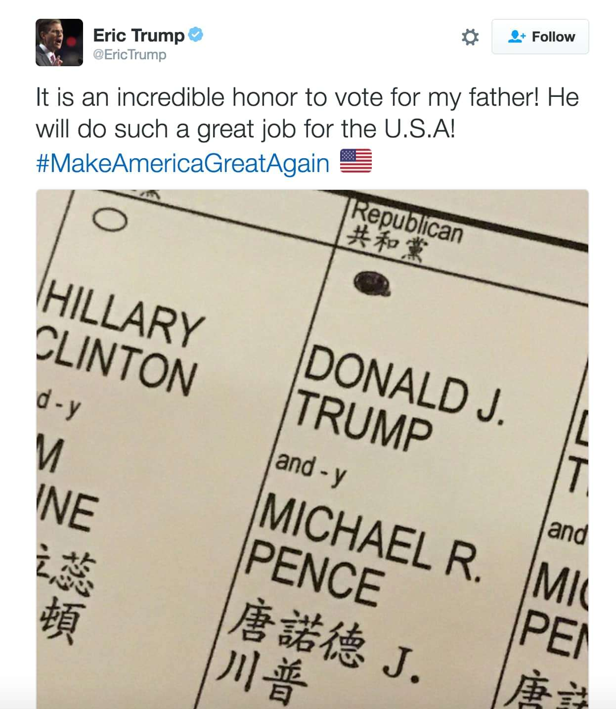 Screenshot of Eric Trump's tweet (copied from Fortune article, though the copyright, such as it is, is Trump's).