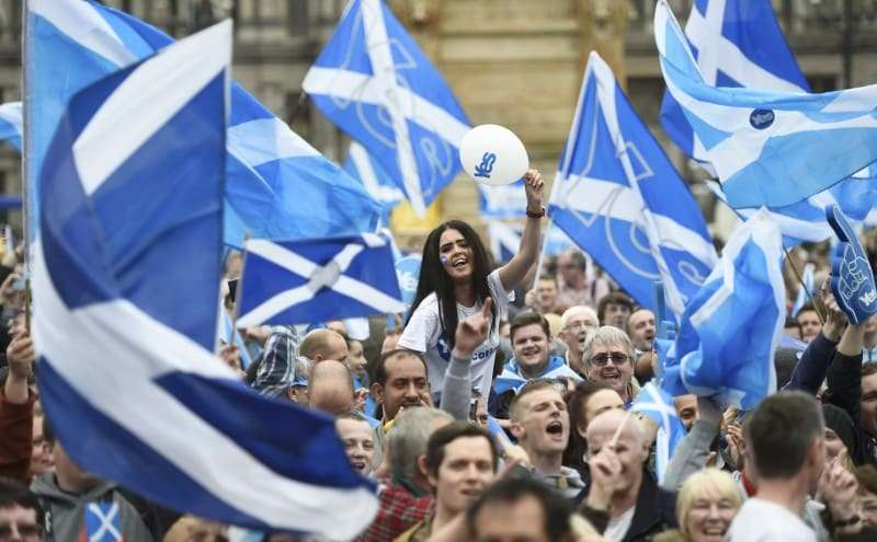 Scottish secessionists rally prior to the 2014 referendum on Scottish independence.