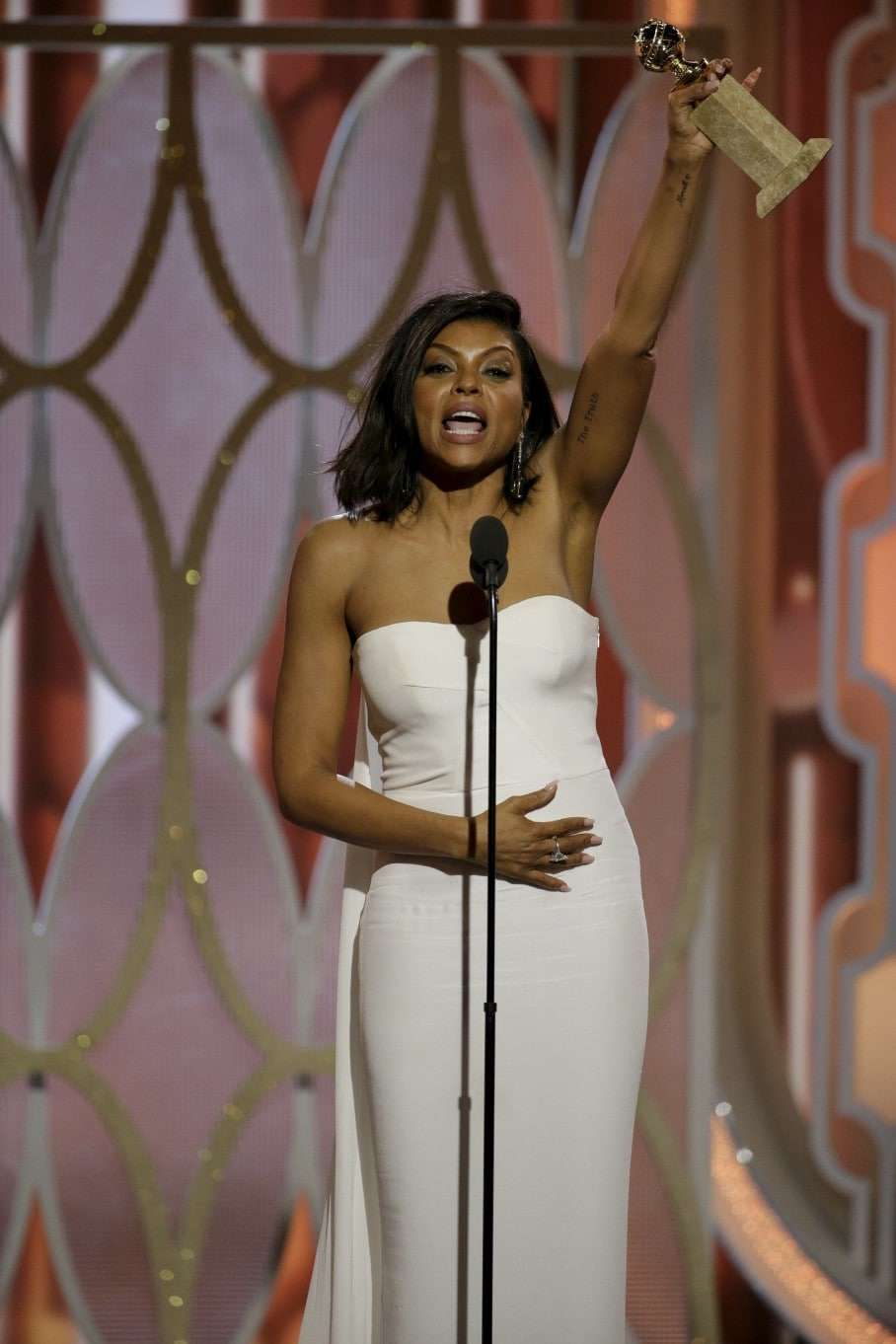 "Taraji P. Henson reacts after winning Best Actress - TV Series, Drama for her performance in ""Empire"" at the 73rd Golden Globe Awards in Beverly Hills, California January 10, 2016. REUTERS/Paul Drinkwater/NBC Universal/Handout For editorial use only. Additional clearance required for commercial or promotional use. Contact your local office for assistance. Any commercial or promotional use of NBCUniversal content requires NBCUniversal's prior written consent. No book publishing without prior approval. TPX IMAGES OF THE DAY"