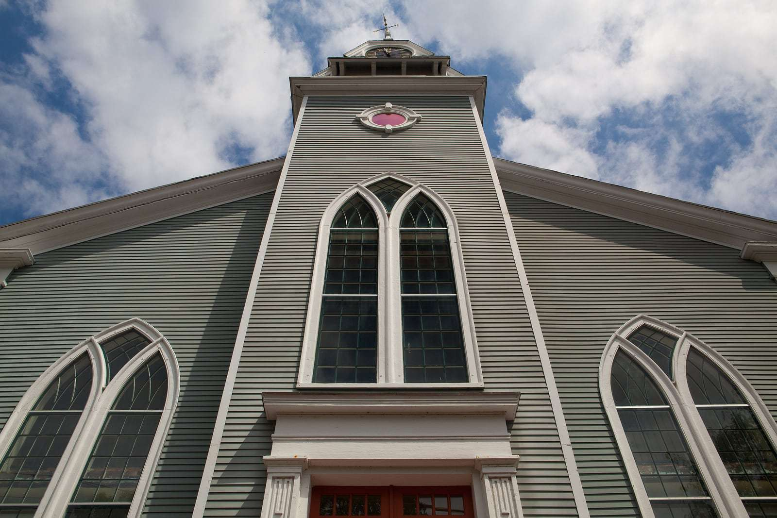 First Parish Church church located in Sandwich city Cape Cod MassachusettsUSA. New England church organized 1688.