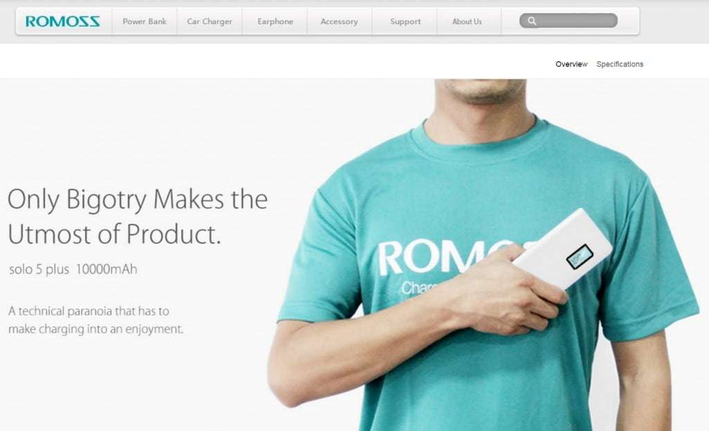 Fair use of promotional page at romoss.com.