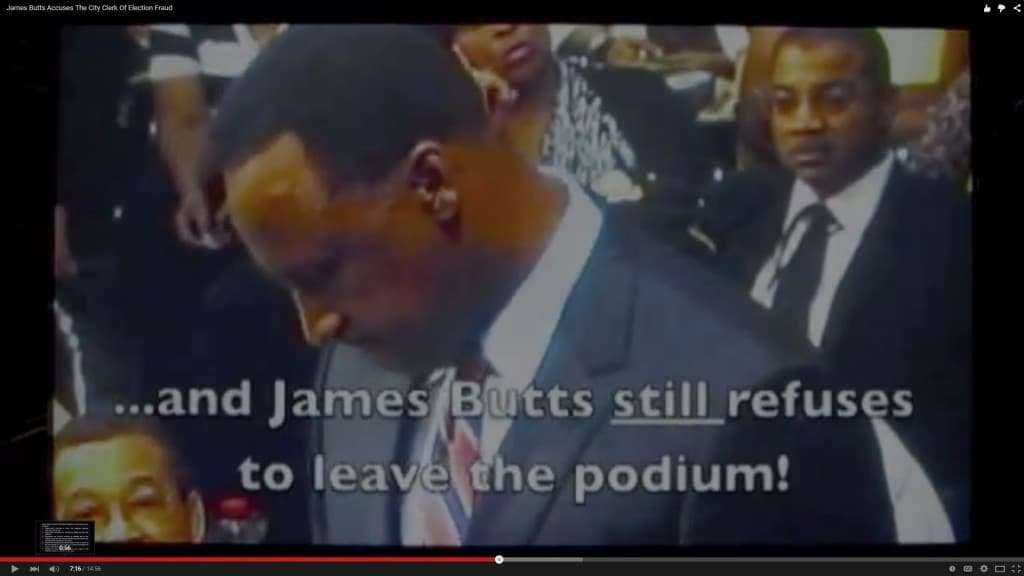 A frame from Joseph Teixeira's YouTube video (depicting Mayor James T. Butts, Jr.), based on an Inglewood City Council videorecording.